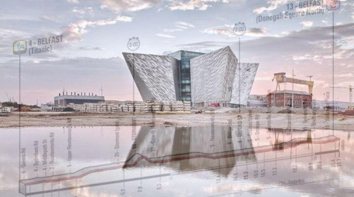 Il Museo del Titanic e, in trasparenza, l'altimetria della prima tappa (http://cinema-tv.guidone.it)