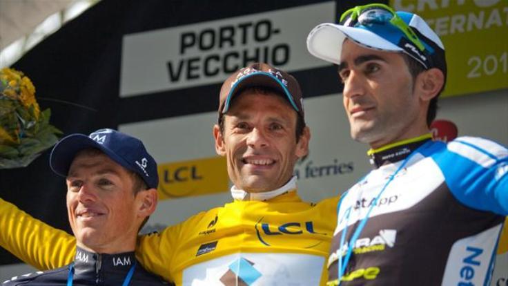 Il podio delledizione 2014 del Critérium Internationa: da sinistra lelvetico Frank , il vincitore Péraud e il portoghese Machado (www.eurosport.fr)