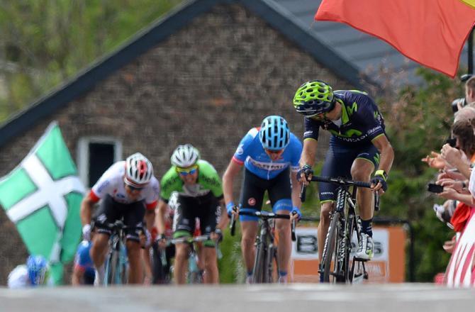 Valverde in cima al muro di Huy, a pochi passi dalla sua seconda Freccia Vallone (foto Tim de Waele/TDW Sport)