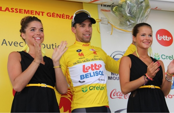 Debusschere veste la prima maglia gialla del Giro di Vallonia (foto trworg.be)