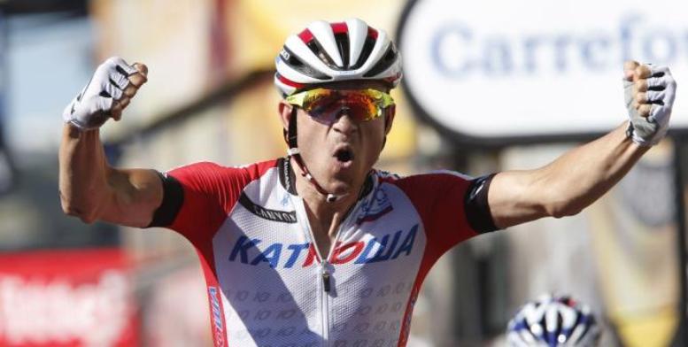 Cucù, oggi il più forte sono io sembra quasi dire Kristoff sul traguardo della 12a tappa del Tour (foto Bettini)