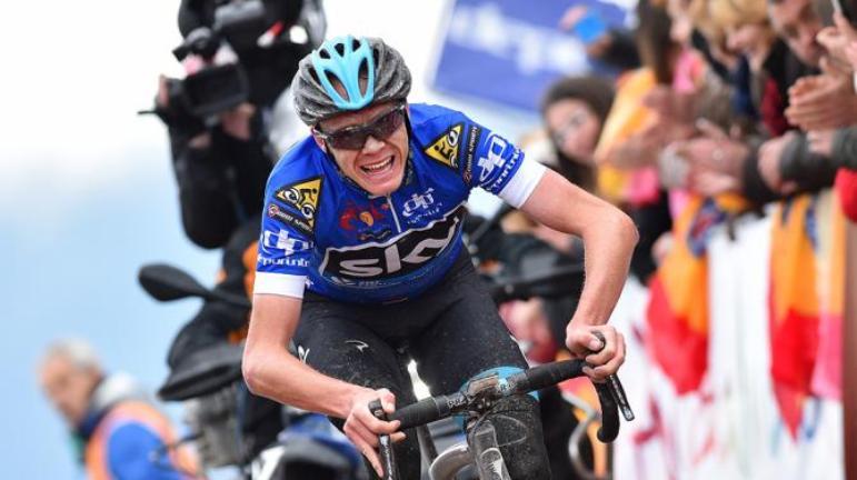 La grinta sul volto di Froome, durante lattacco sullAlto de Allanadas (foto Tim de Waele/TDWSport.com)