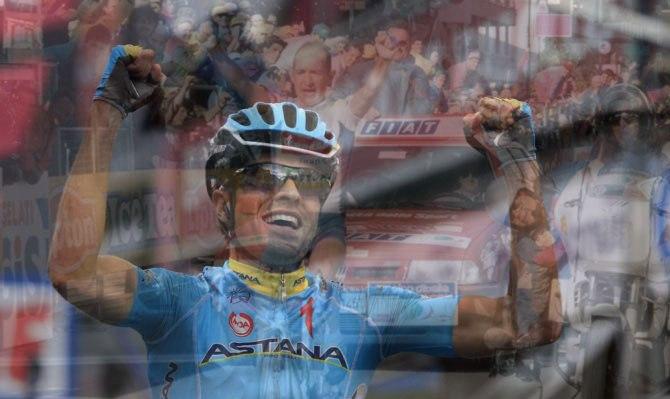 Landa si impone sul traguardo che, il 5 giugno 1994 (sullo sfondo, in trasparenza), consacrò Marco Pantani nellolimpo dei grandi campioni (foto Bettini)