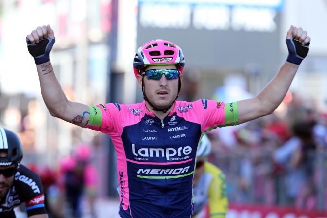 Modolo a segno nella tappa numero 17 del Giro dItalia 2015: è il quarto successo per la Lampre Merida in questa edizione della corsa rosa  (foto Bettini)
