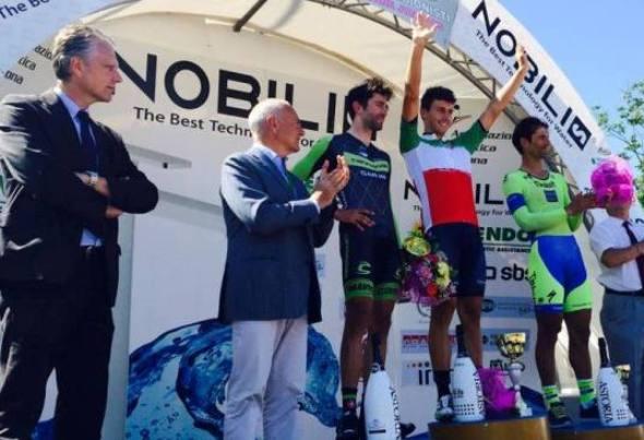 Il podio della prova professionisti della cronometro tricolore 2015 (foto Spazio Ciclismo / Matteo Caimi)
