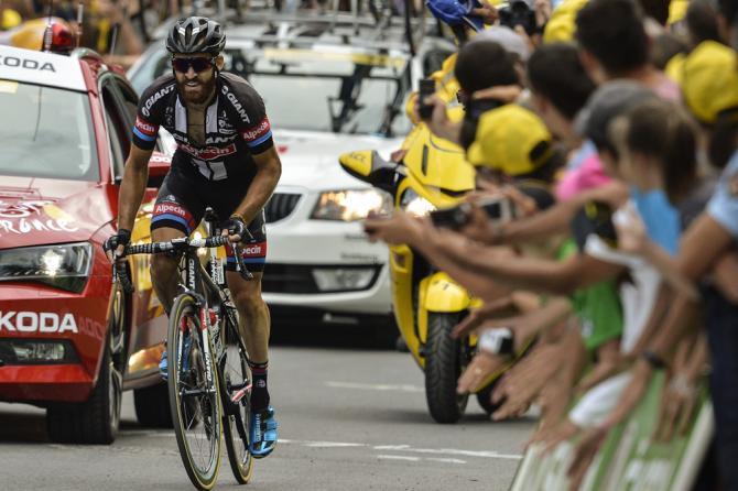 Il barbuto Geschke affonta la salita finale verso Pra Loup (Getty Images Sport)