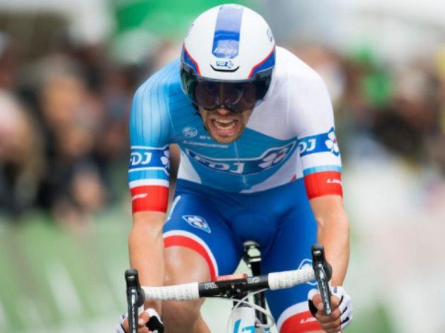 Dopo aver conquistato la breve crono del Critérium International, il francese Pinot si ripete al Tour de Romandie (foto Jean-Christophe Bott - Keystone)