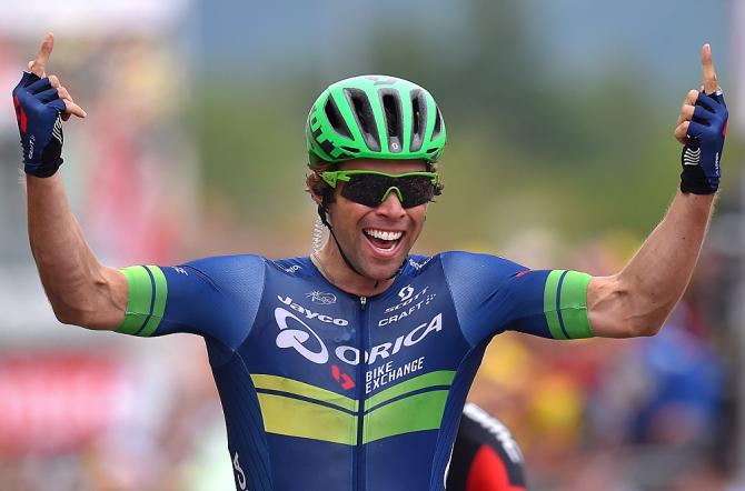 Michael Matthews festeggia la prima vittoria in carriera al Tour de France (foto Tim De Waele/TDWSport.com)