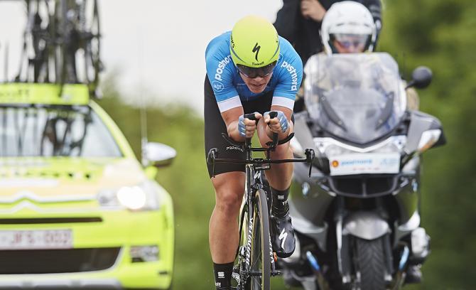 Michael Valgren in azione nella frazione a cronometro di Nyborg (foto Getty Images Sport)