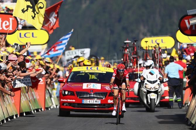 Zakarin a pochi passi dal successo nel tappa del Lac dEmosson, una delle più impegnative del Tour 2016 (Getty Images Sport)