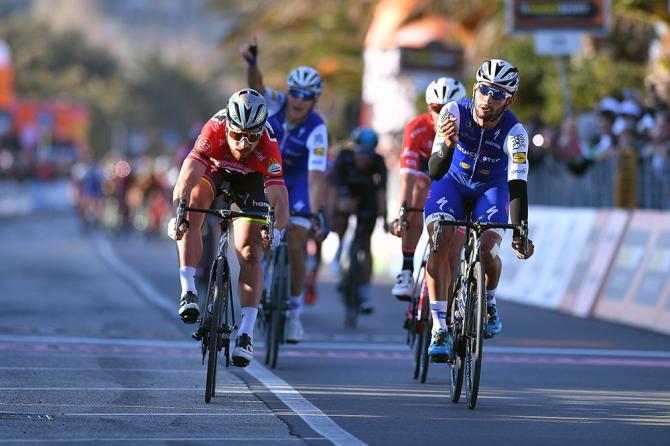 Gaviria batte il campione del mondo Sagan nellultima tappa in linea della Tirreno-Adriatico 2017 (Tim de Waele/TDWSport.com)