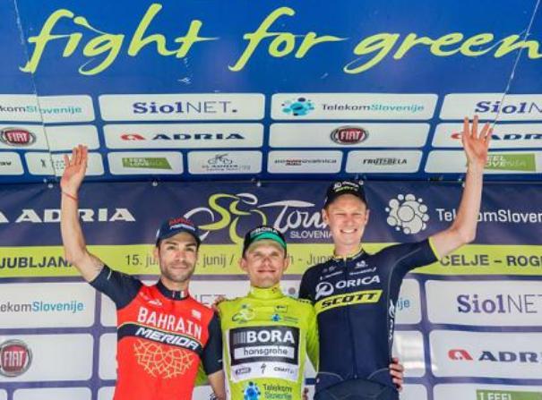 Il podio della 24a edizione del Giro di Slovenia (foto Vid Ponikvar/Sportida)