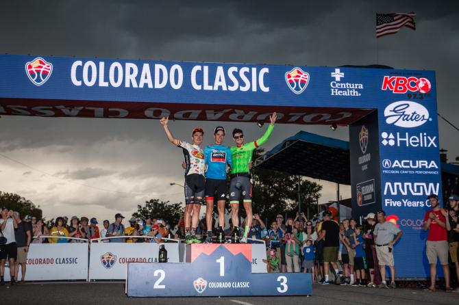 Il podio della prima edizione della Colorado Classic (foto Jonathan Devich/epicimages.us)