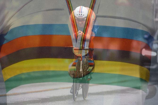 Dumoulin coglie sotto la pioggia di Bergen la sua prima medaglia doro iridata (foto Bettini)