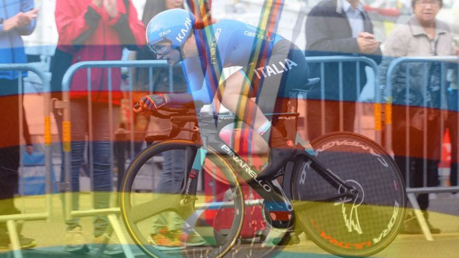 A Bergen Elena Pirrone sostituisce le insegne di campionessa europea con la più prestigiosa maglia iridata di specialità (Tim de Waele/TDWSport.com)