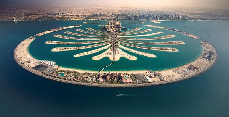 Lisola artificiale di Palm Jumeirah, sede dellarrivo della prima tappa del Dubai Tour (globalvoyages.it)