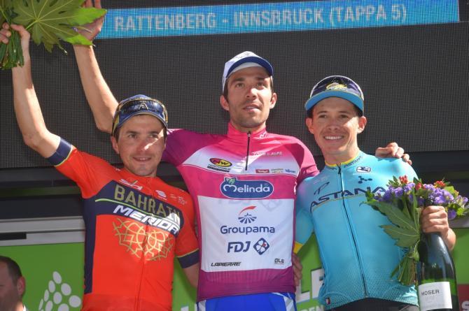 Sul podio finale del Tour of the Alps Pinot sembra guardare lontano... verso il Giro dItalia (foto Tim de Waele/TDWSport.com)