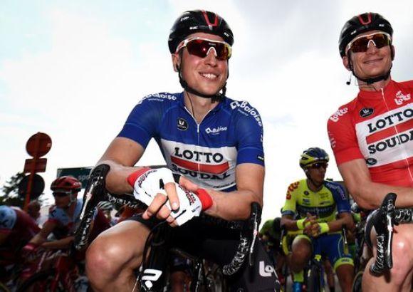 Jens Keukeleire raggiante alla partenza dellultima tappa del Giro del Belgio (www.sport.be)