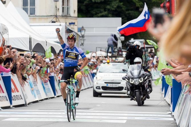 Primož Roglič si impone nella frazione di Kamnik, tappa decisiva del Giro di Slovenia 2018 (foto SPORTIDA)