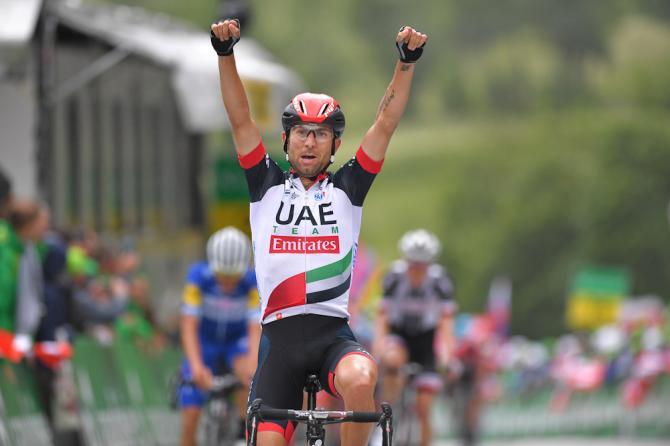 Diego Ulissi marchia dazzurro il traguardo della prima frazione montana del Tour de Suisse (Getty Images)