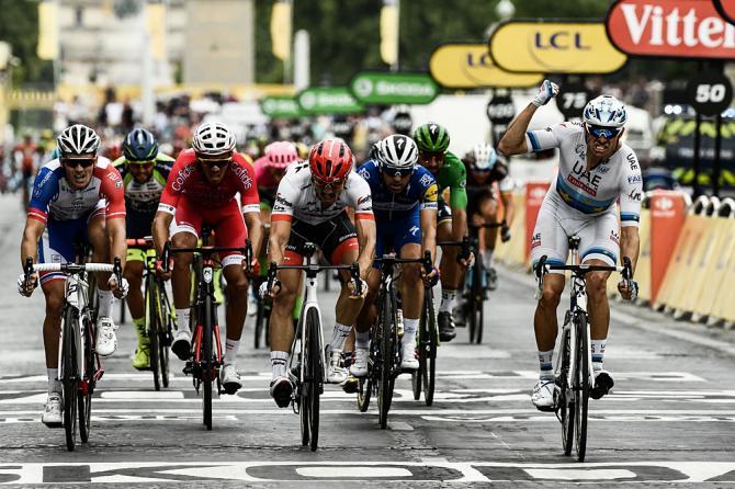 Alexander Kristoff mette i sigilli al Tour de France 2018 sul prestigioso traguardo degli Champs-Élysées (Getty Images)