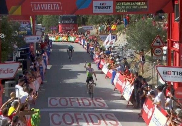 Benjamin King è il vincitore della prima tappa di montagna della Vuelta 2018 (foto EFE)