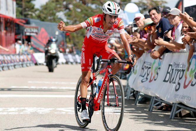 Il colombiano Sosa si impone sul traguardo della tappa regina della Vuelta a Burgos 2018 (foto Bettini)