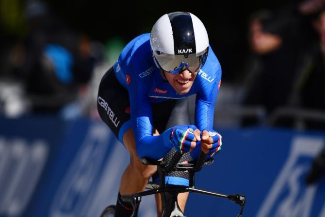 Andrea Piccolo vola verso la medaglia di bronzo nella cronometro indivuduale riservata agli juniores (foto Tim de Waele/Getty Images Sport)