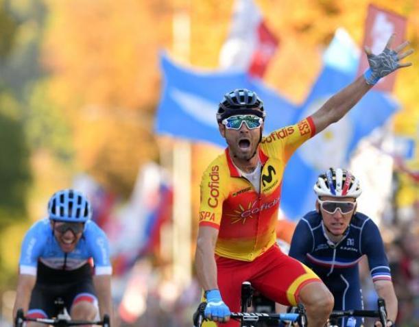 Valverde coglie la sua più bella vittoria in carriera ai mondiali di Innsbruck (foto Bettini)