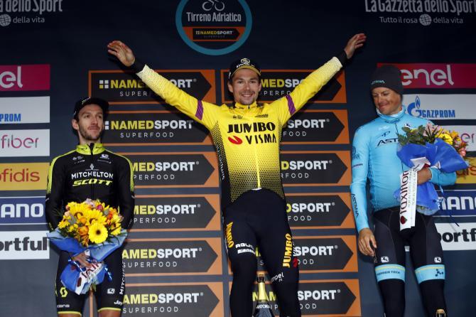 Il podio della Tirreno-Adriatico 2019 (foto Bettini)