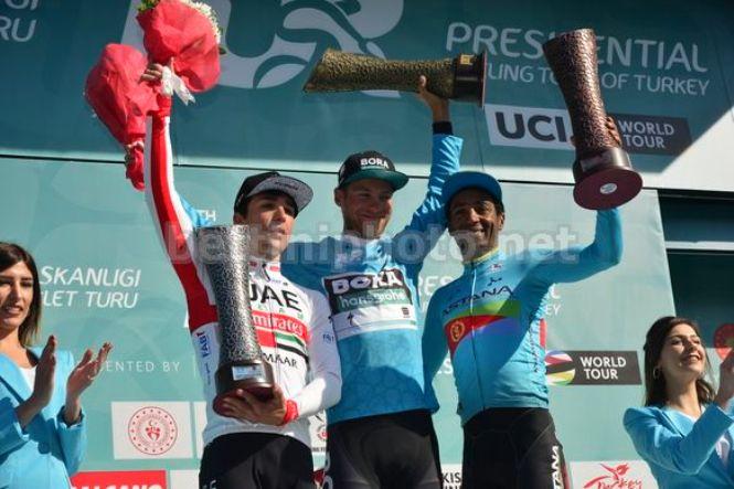 Il podio del Giro di Turchia 2019 (foto Bettini)