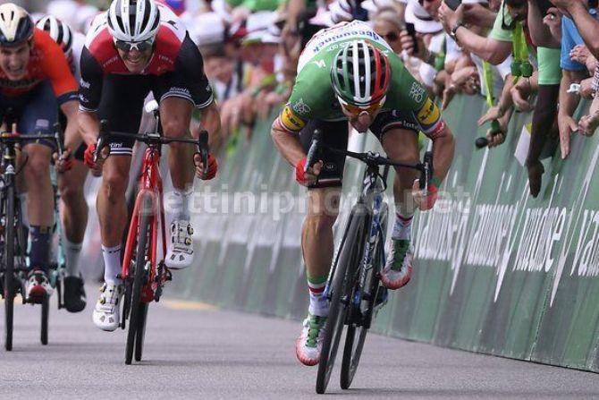 Elia Viviani a testa bassa conquista meritatamente una ricercata vittoria allo sprint (foto Bettini)