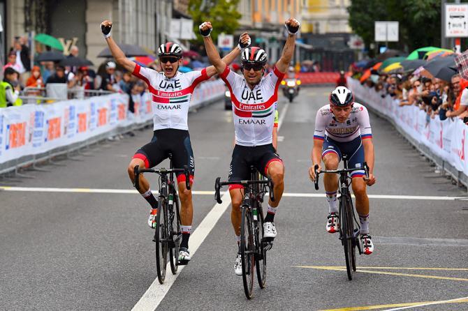 Doppia esultanza in casa UAE Team Emirates a Lugano per il successo di Diego Ulissi e il secondo posto di Aleksandr Riabushenko (foto Bettini)