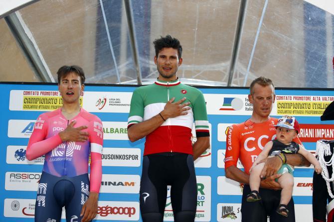 Il podio della gara a cronometro professionisti (foto Bettini)