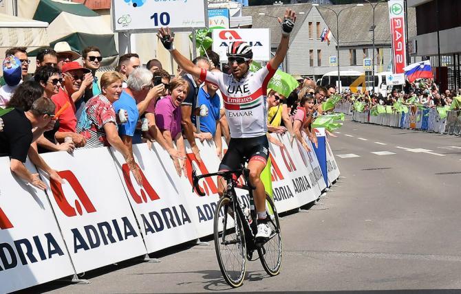 Ulissi vince la tappa di Idria conquistando la maglia di leader del Giro di Slovenia (foto Bettini)