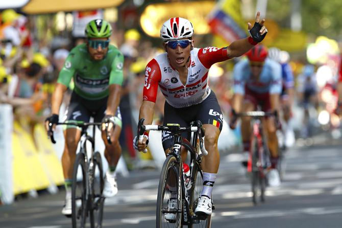 La prima vittoria in carriera di Caleb Ewan sulle strade del Tour de France (foto Bettini)