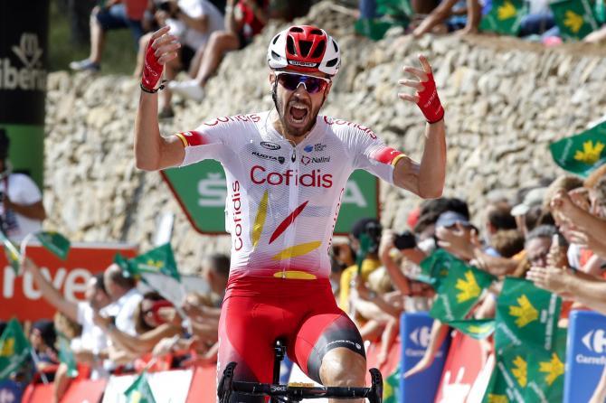 Jesús Herrada vince la tappa di Ares del Maestrat, che ha causato unecatombe tra alcuni dei favoriti per la vittoria finale (foto Bettini)
