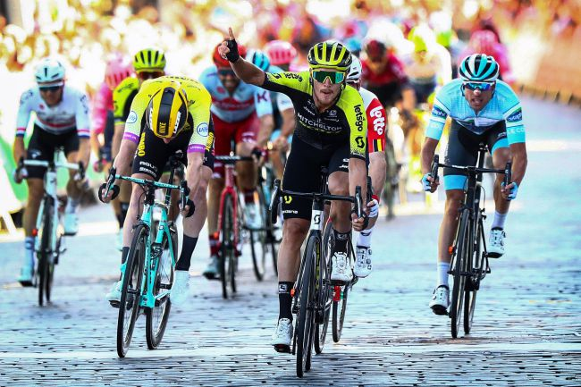 Matteo Trentin vince la seconda tappa del Tour of Britain (foto Bettini)