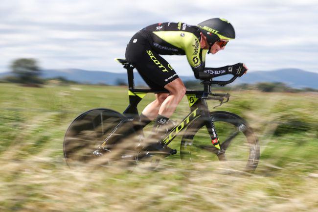 Edoardo Affini in azione nella crono del Tour of Britain 2019 (foto SWpix.com)
