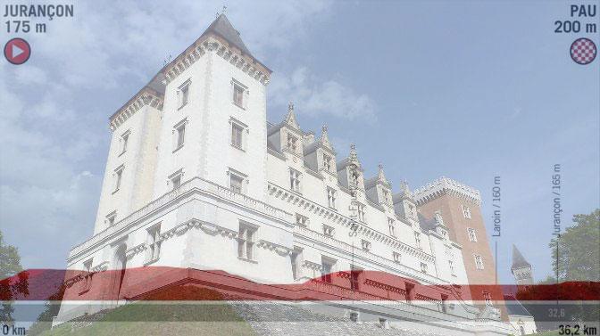 Il castello di Pau e, in trasparenza, laltimetria della 10a tappa della Vuelta 2019 (wikipedia)