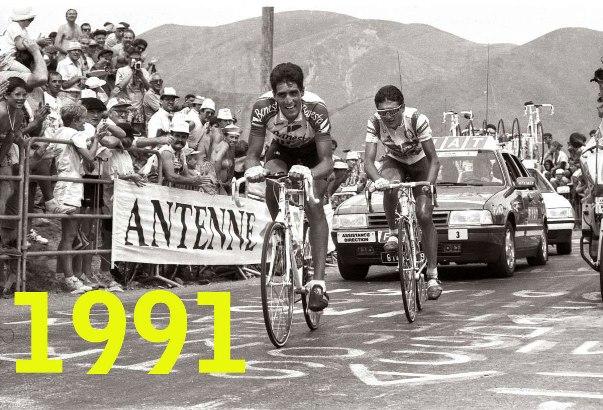 Indurain e Chiappucci allattacco nella tappa di Val-Louron, che consentirà allo spagnolo di indossare al sua prima maglia gialla