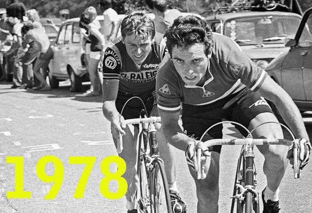 Hinault e Kuiper allattacco sulla salita dellAlpe dHuez, il giorno della cacciata di Pollentier dal Tour per la nota vicenda del tentativo di frodare il controllo antidoping