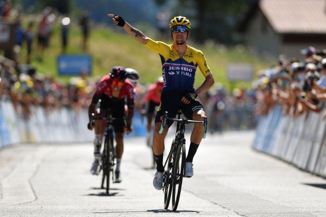 La vittoria di Roglič nella seconda frazione del Tour de lAin (foto Getty Images Sport)