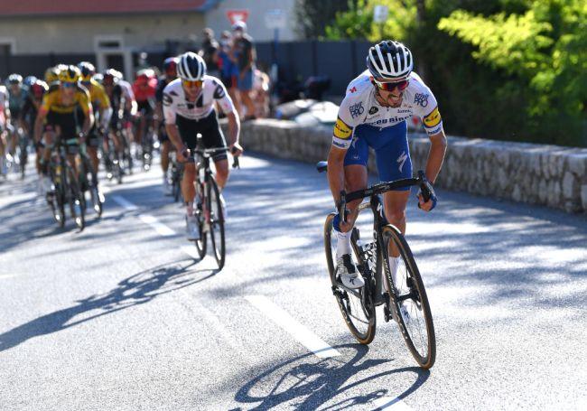 Lattacco di Alaphilippe sul Col des Quatre Chemins (Getty Images Sport)