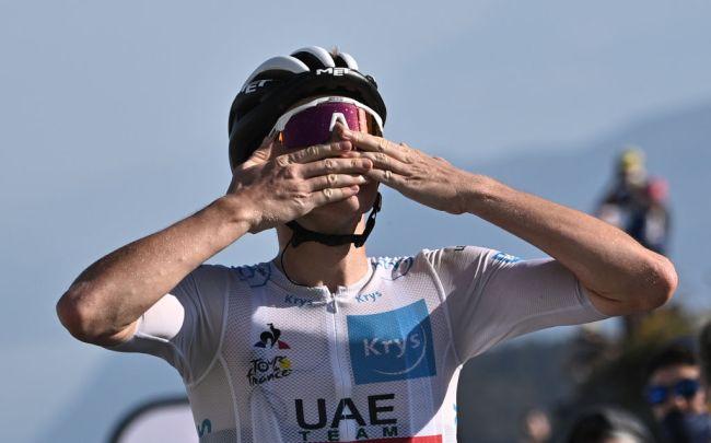 Dopo la frazione pirenaica di Laruns Tadej Pogačar si impone anche in vetta al Grand Colombier (Getty Images)
