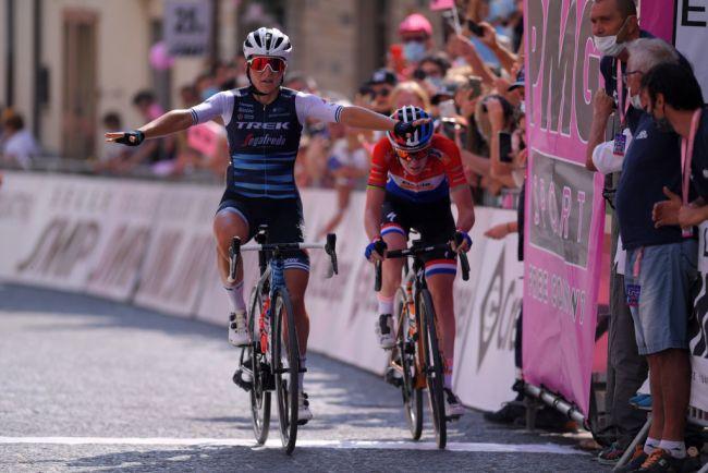 La vittoria di Elisa Longo Borghini al termine della difficile ascesa di San Marco la Catola (Getty Images)