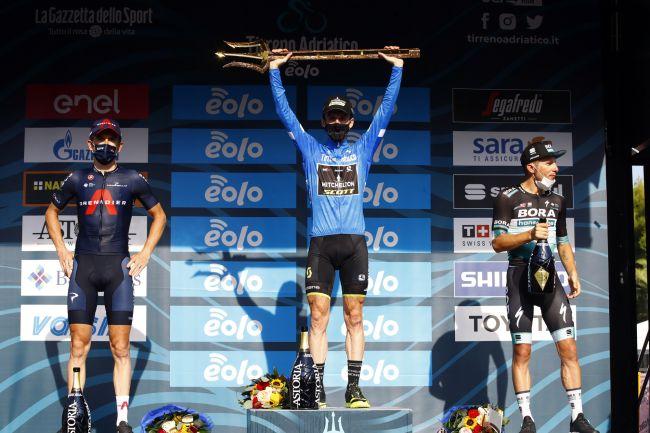 Il podio della Tirreno-Adriatico 2020 (foto Bettini)